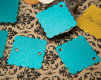 """100 Teal green Pearlised 1.5"""" Square Luxury Gift Tags, Blank Tag, Wishing Tree Tag, Wedding favour tags, Jewelry Tag, wedding favor 1.5 inch"""