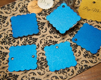 "50 Royal Blue Pearlised 1.5"" Square Luxury Gift Tags, Blank Tags, Wishing Tree, Wedding favour tags, Jewellery Tags, wedding favors 1.5 inch"
