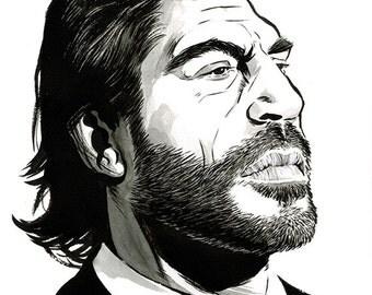 Javier Bardem portrait original ink drawing