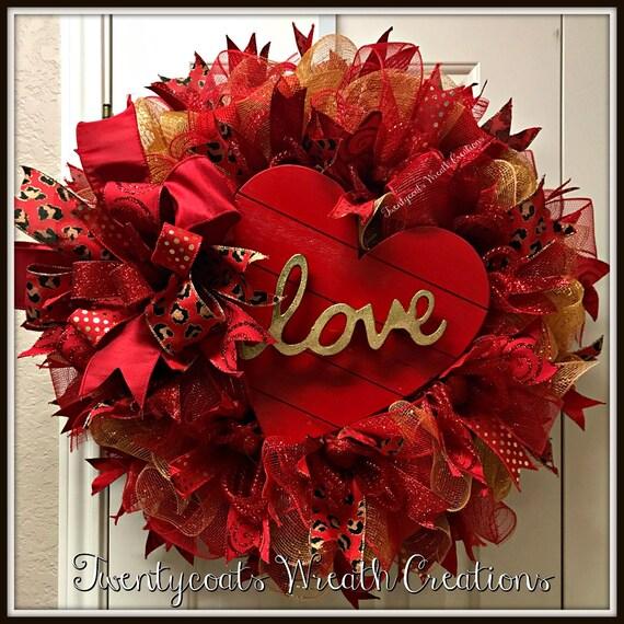 Valentine's Day Wreath-Deco Mesh Heart Wreath-Heart WreathValentines Heart wreath-Red Heart wreath-wooden heart wreath - LOVE heart wreath