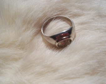 VINTAGE STERLING RING Clear Stone Ring Size 8
