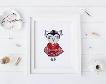 Geisha Owl, Watercolor Art Print