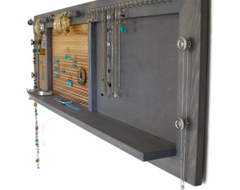 Large Wall Hanging Jewelry Organizer with Shelf