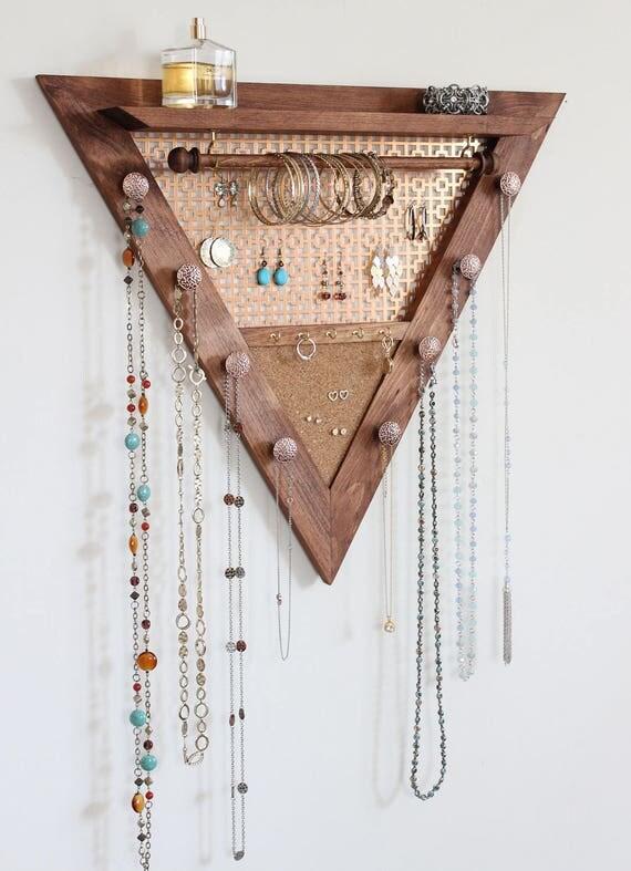 Triangle Jewelry Organizer Wooden Wall Hanging Jewelry |Wooden Wall Jewelry Organizer