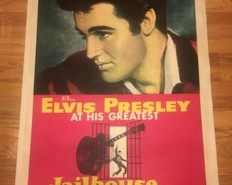Original 1957 Jailhouse Rock Linenbacked One Sheet Movie Poster, Elvis Presley, Classic, Hollywood, Vintage, Cinema, Music, Linen
