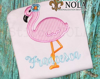 Flamingo Applique Shirt with FREE Personalization, Gown, Romper, Bubble or Bodysuit, Flamingo