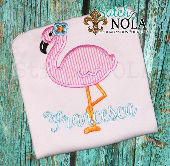 Flamingo Applique Shirt with FREE Personalization, Gown, Romper, Bubble or Bodysuit, Flamingo