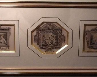 Set of 3 engravings in the same frame