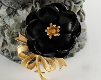 Crown Trifari Black Pansy Brooch