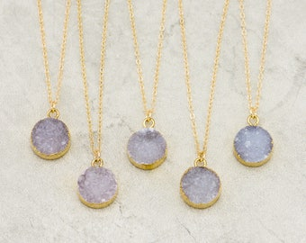 Druzy Round Gemstone Necklace, Druzy Necklace, Genuine Gemstone Necklace, Bridesmaid Jewelry, Mother's Day Gift