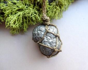 Pyrite Egg - Pyrite pendant necklace - macrame jewelry - Chakra necklaces - All chakras pendant -spiritual and healing