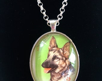 German Shepard Postage Stamp Necklace
