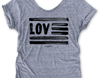 Love USA Off-Shoulder, Triblend, Raw-Edge, Swanky Tee, Funny Graphic Tee, July 4th, Patriotic, ...