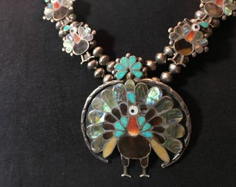 Vintage Zuni peacock inlay squash blossom necklace with earrings and ring
