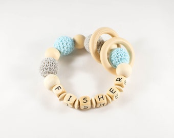 Personalized Rattle - Personalized Baby Toy - Baby Rattle - Teething Ring - Baby Teether - Organic Baby Toy - Personalized Baby Gift