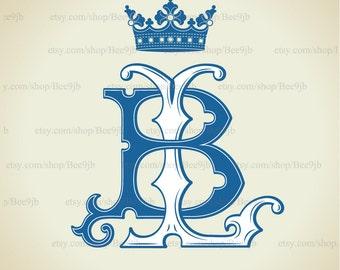 Monogram Vintage BL , LB  | Wedding logo | Wedding  Clip Art