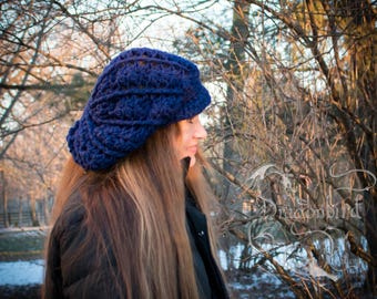 Newsboy Cap, Slouchy Newsboy Hat, Slouchy Hat With Brim, Brimmed Hat, Navy Blue Hat, Crocheted Hat
