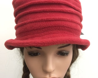 Ladies handmade red brimmed fleece hat. Size small/Med