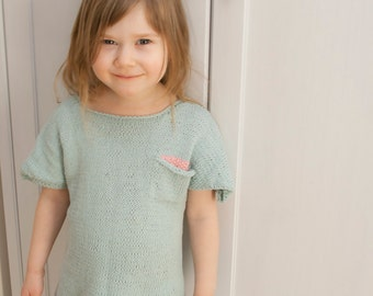KNITTING PATTERN t-shirt top Sunny with a pocket (toddler, child sizes)