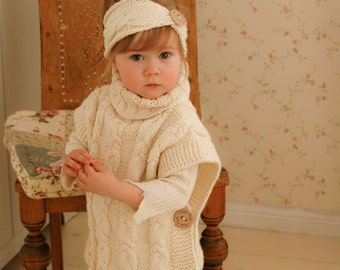 KNITTING PATTERN cable poncho Robyn with a headband (toddler, child, adult woman sizes)