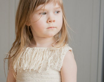 CROCHET PATTERN sleeveless summer top Heili wih a fringe and a belt (toddler and kids sizes)