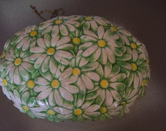 Atlantic Mold Ceramic Hanging Planter with Daisy Pattern