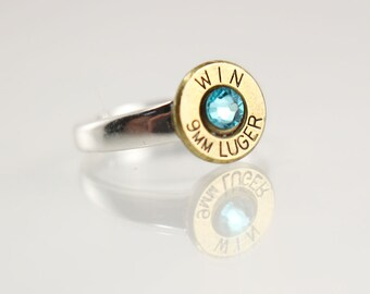 Adjustable Sterling Silver Ring - Brass 9mm Bullet Ring - Bullet Jewelry - Gift Ideas for Her - Holiday Gift Ideas - Trendy Rings