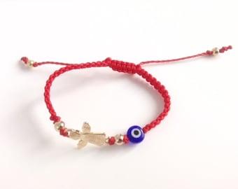Baby Bracelet Personalized, Gold baby bracelet newborn protection bracelet guardian angel charm, baby gift newborn bracelet gold, mal de ojo