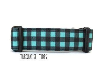 Teal Dog Collar, Teal Plaid Dog Collar, Turquoise Plaid Dog Collar, Lumberjack Dog Collar, Plaid (Upgrade to Metal Buckle or Martingale)