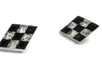Crown Trifari Silver Black Clear Rhinestones Checkered Board Design Clip Earrings 1950s Designer SignedRunway Estate Runway Classic