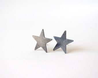 star ear posts, black star earrings, ear studs