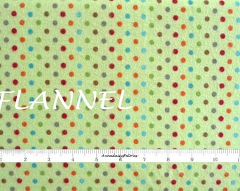 Green Dot Flannel Fabric, Riley Blake Fox Trails F2686, Doohikey Designs, Orange, Brown, Gray, Turquoise, Green Flannel Quilt Fabric, Cotton