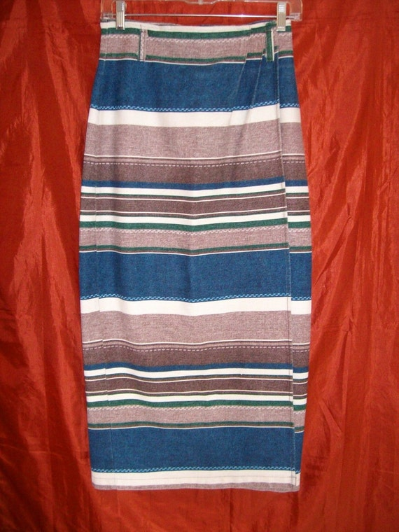 Be Bop Clothing Long Faux Wrap Striped Denim Pencil Skirt 80's Size 7 Small VTG