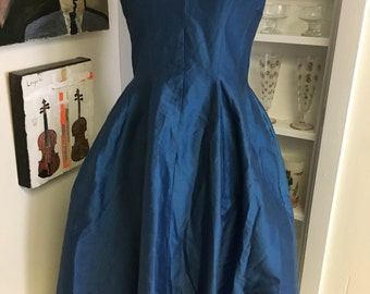 1950s 50s Vintage Royal Blue Silk Party Dress