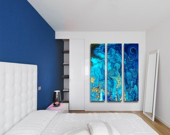 Liquid Blue Dreams Large Vertical Thin Panel Metal Abstract Wall Art