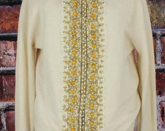 Vintage 1960s Angora Beaded Sweater