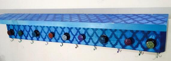 Bathroom wall decor/ wooden vanity/ geometric art Towel rack holder makeup organizer /floating shelves /10 bath towel hooks 9 colorful knobs