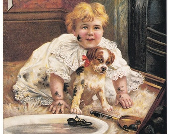 cute girl with dog puppy muddy dirty vintage Pears Soap advert ad advertisement victorian home decor print 8.5 x 11.5 inches