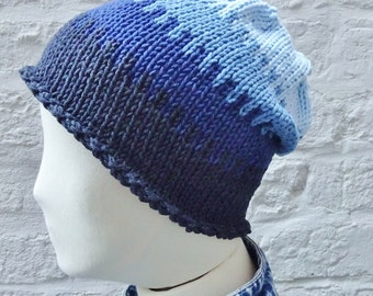 Lightweight Summer Denim Blues Classic Beanie, Cotton and Acrylic, READY TO SHIP