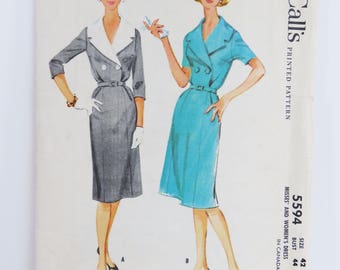 Vintage 1960s McCall's sewing pattern - Number 5594 classic wiggle dress madmen style Size 42 Bust 44