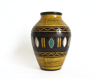 Marzi and Remy vase, West German Pottery, mustard yellow and brown earth tones
