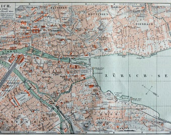 Zurich map at the end of the 19th. Old book plate, 1904. Antique  illustration. 113 years lithograph. 9'6 x 6'3 inches.