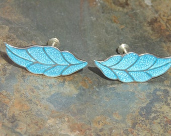 Miguel Arias ~ Vintage Sterling and Light Blue Enamel Leaf / Feather Screw Back Earrings