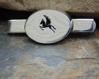 Los Castillo ~ Vintage Taxco Sterling Silver Pegasus Shadowbox Tie Bar