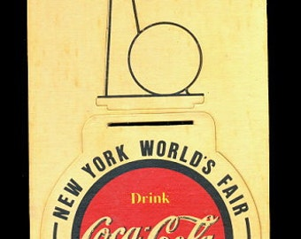 1939 World's Fair Coca Cola Wooden Coaster