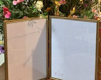 vintage 8x10 double hinged embossed ornate gold metal picture frame photo frame