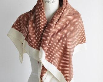 Vintage 1960s Silk Scarf / 60s B.H. Wragge Designer Scarf / Brown and Ivory Polkadot Wrap / Polka Dot Headwrap / Neckerchief / Kerchief