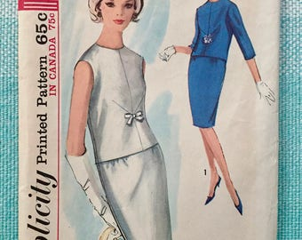 1960s Simplicit 5234 Sewing Pattern Ladies Pencil Skirt Blouse Sleeveless Fitted Round Neck Three-Quarter Sleeves Size 13 Bust 33