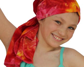 Ava Joy Children's Pre-Tied Head Scarf, Girl's Cancer Headwear, Chemo Head Cover, Alopecia Hat, Head Wrap, Cancer Gift Hair Loss Red Tie Dye