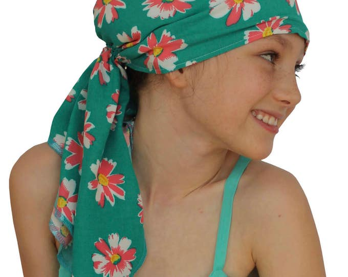 Featured listing image: Ava Joy Children's Pre-Tied Head Scarf, Girl's Cancer Headwear, Chemo Head Cover, Alopecia Hat, Head Wrap Cancer Gift Hair Loss Teal Daisies